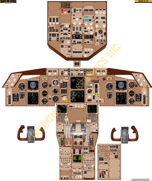 Boeing 757 cockpit poster